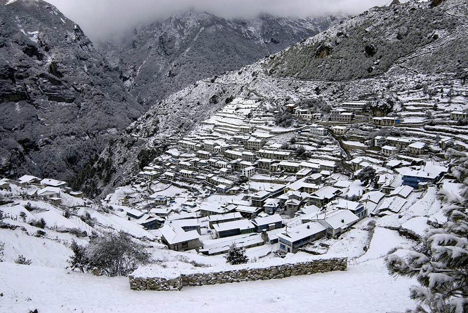 A snowy Namche Bazaar