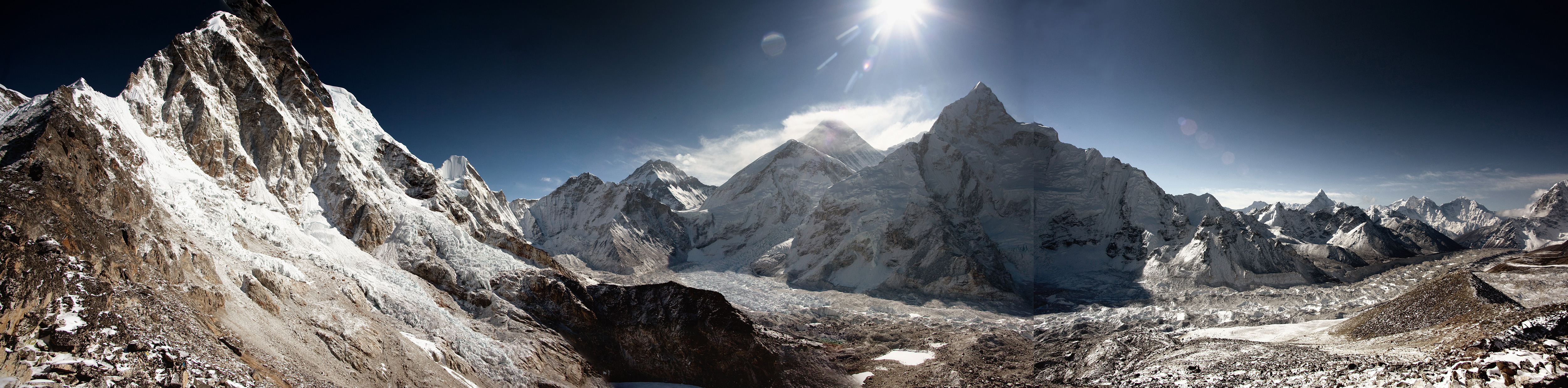 Everest and Khumbu icefall panorama from Kala Pathar