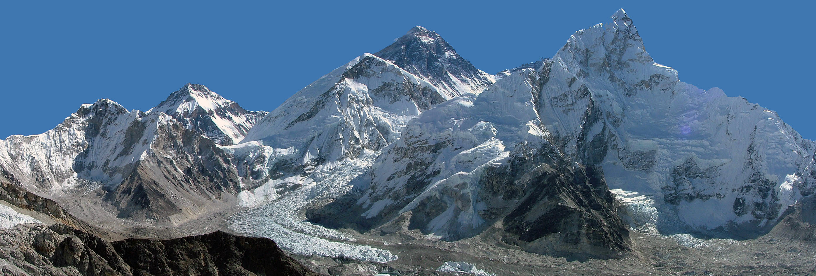 Everest and Khumbu icefall panorama