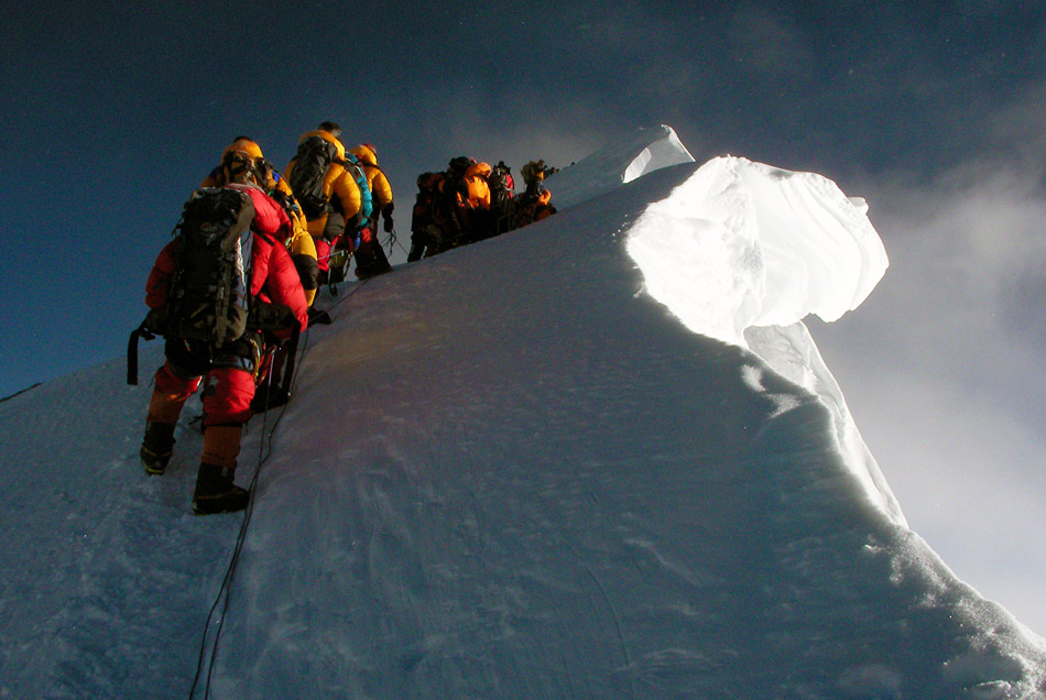Traffic jam on Everest summit