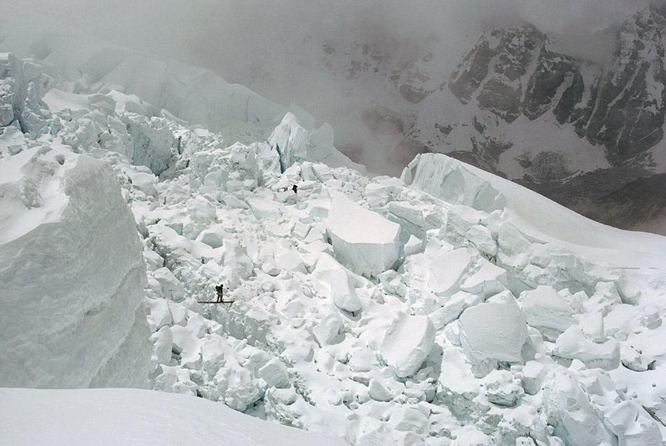 Sherpas works on Khumbu icefall during Everest Expedition