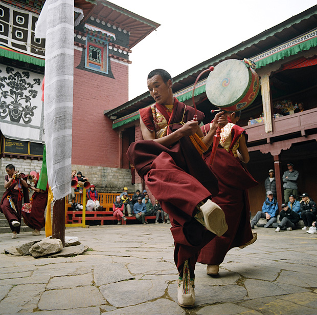 Buddhist monks dancing in Mani Rimdu festival Tengboche