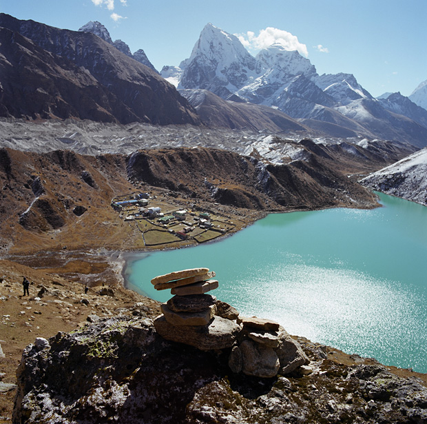 View over Gokyo and 3d Lake from Gokyo Ri