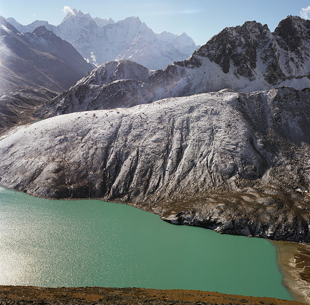 View over Renjo La pass and 3d Lake from Gokyo Ri